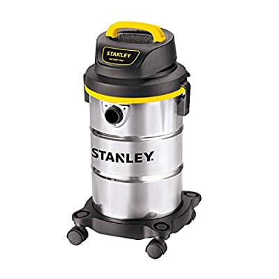 Stanley 5 Gallon Wet Dry Vacuum, Powerful 4 Peak HP Suction, Portable Stainless Steel Shop Vac, Multifunctional Shop Vacuum for Household, Job Site, Upholster, Garage, Workshop SL18130