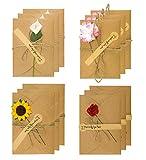 12pcs Tarjeta de Felicitación, Papel Kraft Retro Hecho a Mano, Sobres en Blanco, Flores Secadas Postal Decorada Para El Día de San Valentín o El Día de La Madre,Tarjetas de Cumpleaños