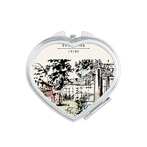 DIYthinker De Verborgen Paviljoen In Chengdu Van China Hart Compact Make-up Spiegel Draagbare Leuke Hand Pocket Spiegels Gift