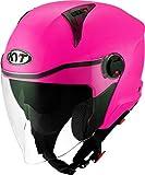 KYT D-CITY - Casco de moto jet con doble visera, color fucsia fluorescente, talla S