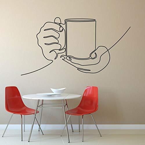 wZUN Etiqueta engomada de la Pared del Arte de la línea de la Taza de café para la decoración del café y de la Cocina 57X32cm