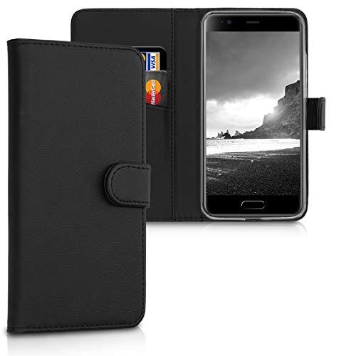 kwmobile Wallet Hülle kompatibel mit Blackview P6000 - Hülle Kunstleder mit Kartenfächern Stand in Schwarz