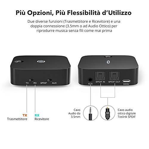Transmitter and Receiver 2-in-1Bluetooth 4.1, TaoTronics Optical Digital Toslink Adapter with aptX Low Latency 3.5–RCA Adapter, 3.5mm Wireless Audio Receiver for Stereo System Double Combination