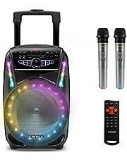 """EARISE M15 Máquina de karaoke con 2 micrófonos inalámbricos, altavoz portátil Bluetooth PA de 400W, subwoofer de 8"""", luces LED"""