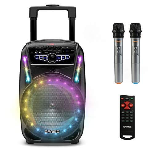 EARISE M15 Máquina de karaoke con 2 micrófonos inalámbricos, altavoz portátil Bluetooth PA de 400W, subwoofer de 8', luces LED