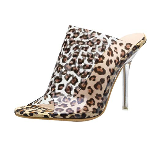 Deloito Damen Mode High Heels Leopard Hausschuhe Sexy Transparent Kristall Sandalen Strände Fischmaul Schuhe (Braun,37 EU)