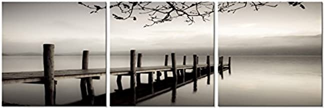 Pyradecor Peace 3 Panels Black and White Landscape Giclee Canvas Prints on Canvas Wall Art Modern Stretched and Framed Pictures Paintings Artwork for Living Room Bedroom Home Décor