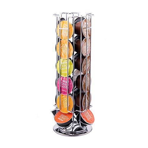 Bright Dream Compatible con Nespresso Dolce Gusto estante para cápsulas de café con capacidad para 24 elegantes y modernos soportes para cápsulas de café con acabado cromado