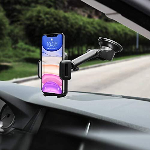 Mpow [Versione AGGIORNATA Supporto Smartphone per Auto Culla Regolabile per Cruscotto Dashboard Parabrezza, Porta Cellulare per Molti Smartphone e DisposidiviSwitch, GPS, Grigio