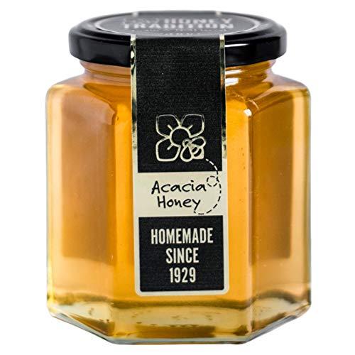 Miel de abeja de acacia 500g - superalimento crudo, natural y ético. Potencia su vitalidad y su sistema inmunitario. Envasado con materiales reciclables y sostenibles.
