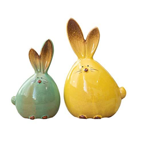 VILLCASE - Figura de conejo de Pascua (2 piezas, cerámica, diseño de conejo de Pascua, decoración de oficina, animales de cerámica, conejo, estatua de Pascua, fiesta, regalo (color mezclado)