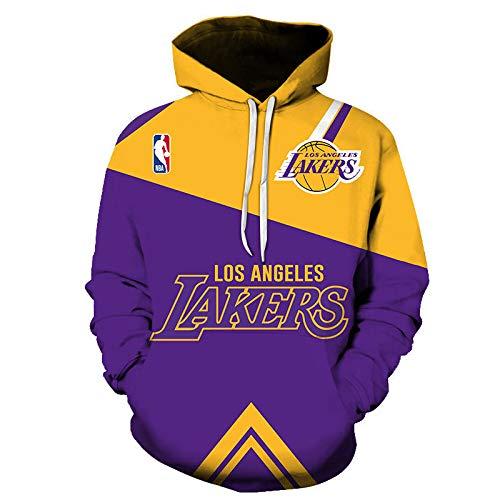 Ordioy Sudadera con Capucha para Hombre, NBA Fans Basketball Jersey Los Angeles Lakers, Sportswear Hooded Pullover Sudadera con Capucha Suelta Camiseta De Entrenamiento para Correr,S