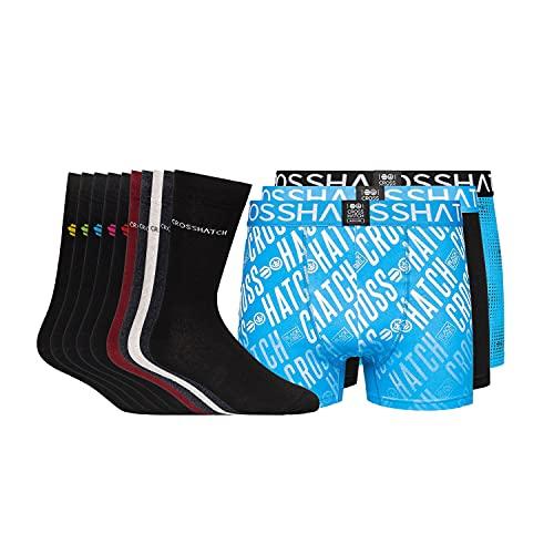 Crosshatch Geschenke für Männer 3 Pack Boxer & 5 Pack Socken Geschenk-Set für ihn, Geburtstagsgeschenk für Ehemann, Vater, Fre& Gr. S, Farbez-Blau/Socken