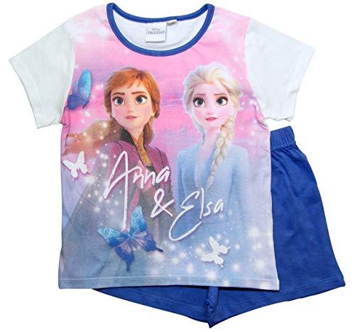 Frozen 2 Mädchen Die Eiskönigin Schlafanzug ELSA Pyjama (Flieder-Weiß, 110-116)