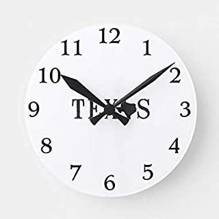 TattyaKoushi 15 by 15-inch Wooden Wall Clock, Texas Name with State Shaped Letter Round Clock for Kitchen Bedroom Living Room Home Office Decor
