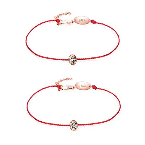 APCHY Micro-Inline-Diamant-Rotes Seil-Armband -2Pcs, Weibliche Süße Und Einfache Handgewebe Handseil Schmuckkette Schmuck, Muttertag Und Valentinstag, Geburtstagsgeschenk