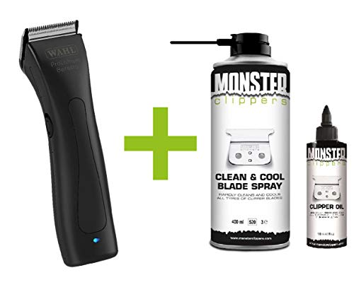 Wahl Beretto Tondeuse Black Stealth + Monster Clippers Clean & Cool Blade Spray & Olie