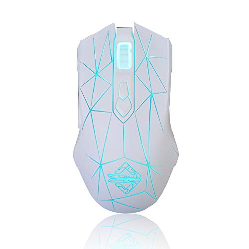 Helloland Ajazz AJ52 Watcher RGB Gaming Mouse, Ergonomic USB Computer Laptop PC Mice with Programmable 7 Buttons & LED Backlit for Windows Mac OS Linux (Star White)