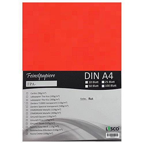 GMUND Transparentpapier DIN A4 Farbe Rot / LYSCO® Feinstpapierset mit 25 Blatt Inhalt (FPA-122) - bedruckbar, sehr gute Qualität, für Einladungen, als Einlegeblätter für Alben, Fotoalben, Fensterbilder, Bastelarbeiten uvm.