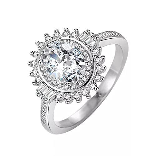 BAJIE Anillo de Boda Anillo de joyería de Platino de Boda de Diamantes de Piedras Preciosas de circón Natural Unisex