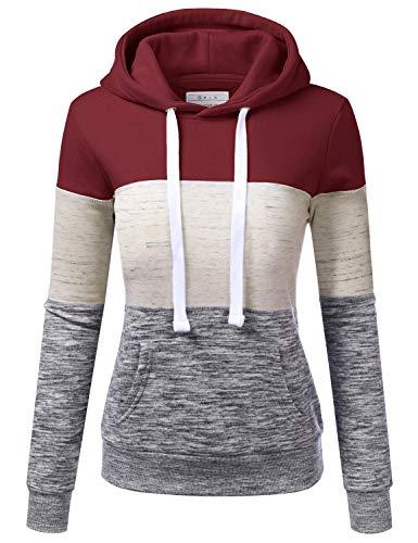 NINEXIS Basic Lightweight Pullover Hoodie Sweatshirt for Women Burgundy S