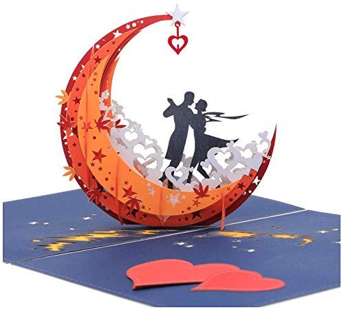 3D Anniversary Card - For Her, Him, Couple, Wife, Husband, Girlfriend, Boyfriend - A Dance on Moon...