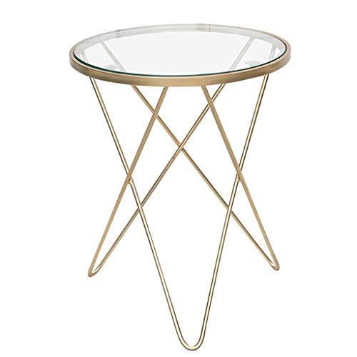 LICHUAN Mesa de café de cristal templado nórdico, mesa redonda pequeña para...