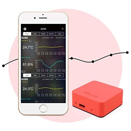 ViseeO QUBS Smart Temperatur- und Luftfeuchtigkeitsmesser (korallenrot)