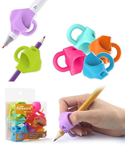Firesara Pencil Grips, Upgrade Large Size Kids Pencil Grips Three Fingers Fixed Pencil Correction Grips for Kids Children Preschool Adult Handwrting for Lefties and Righties (4Standard+2Large)