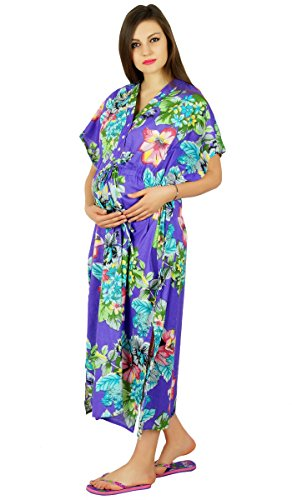 Bimba Nursing Kaftan Gown Maternity Night Gown, Hospital Delivery Gown- Front Buttons