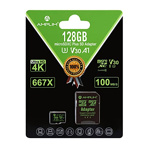 Amplim 128GB Micro SD Card, MicroSD Memory Plus Adapter, MicroSDXC SDXC U3 Class 10 V30 UHS-I TF Extreme High Speed Nintendo-Switch, Go Pro Hero, Surface, Phone Galaxy, Camera Security Cam, Tablet