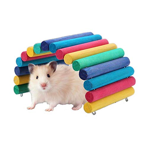Duokon Hamster Puente de Madera Arco Iris Escalera de suspensión para Mascotas pequeñas Suministros Jaula hábitat decoración ratón Ratas roedores Juguete