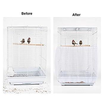 Furpaw Couverture de Cage, Housses pour Cages à Oiseaux Maille Couverture Protection Cage, Mesh Pliable Flexible Contraction pour Perroquet Perruches Canaris - Blanc