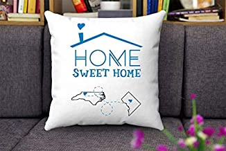 Wini2342ckey Map Throw Pillow Covers North Carolina District of Columbia-Home Sweet Home NC DC-Custom House Warming Gift for Mom, Dad, Family-Decorative Home Throw Pillow Covers 18
