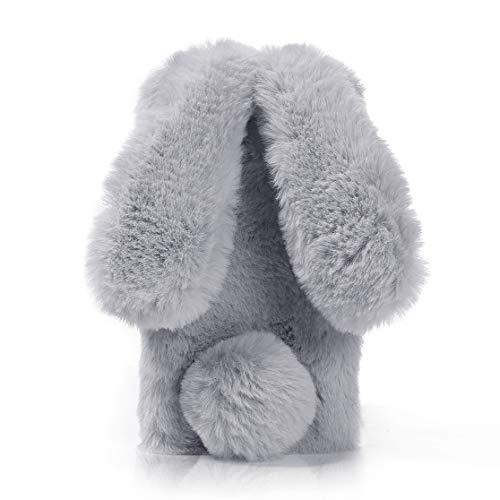 Yobby Niedlich Weich Faux Pelz Handyhülle für iPhone 7, iPhone 8 Plüsch Hülle,Hase Ohr Winter Warm Flauschig Stoßfest Schutzhülle mit Handgefertigt Bling Kristall Strass-Grau