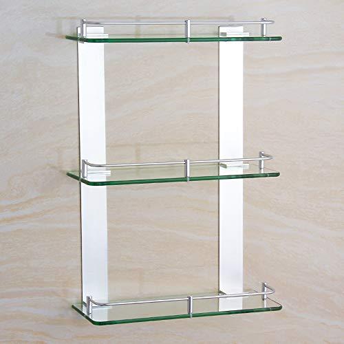 Ghelf Space Aluminium Dreifach-Glasregal Wandmontiertes Bad-Organizer-Regal aus Aluminium und Glas Badezimmer Quadratisches Dusch-Organizer-Regal Eloxiertes Badregal (Größe : 50cm)