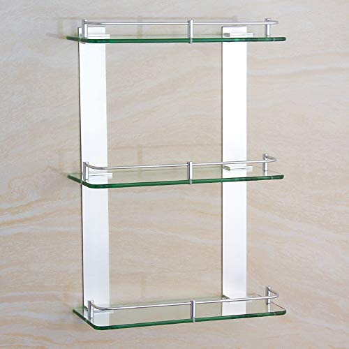 Ghelf Space Aluminium Dreifach-Glasregal Wandmontiertes Bad-Organizer-Regal aus Aluminium und Glas Badezimmer Quadratisches Dusch-Organizer-Regal Eloxiertes Badregal (Größe : 50cm)