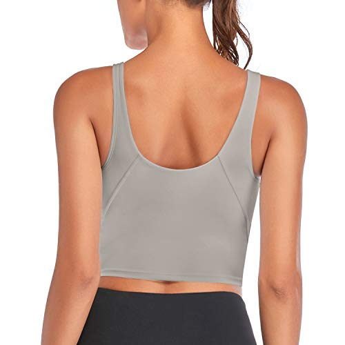 Vinfact Sujetador deportivo para mujer con sujetador integrado y acolchado para yoga, atlético, fitness, entrenamiento, running. gris claro S