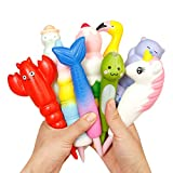 Anboor Random Pens Grip Set Squishies Soft Slow Rising Scented Kawaii Pencil Topper Squishies Pen Holders Stress Relief Kids Toys (5 Pcs)