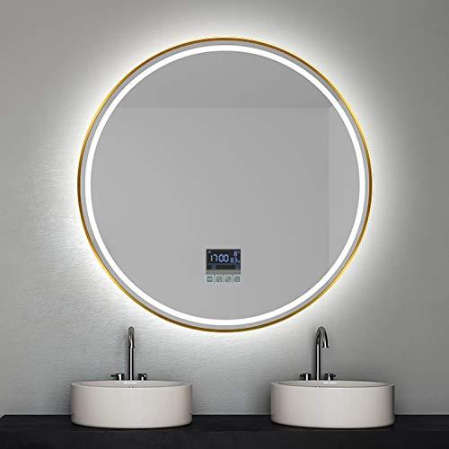 GETZ Espejo de Baño Redondo con Iluminación LED con Sensor de Control Táctil, Función de Atenuación de 3 Colores, Brillo Ajustable, Almohadilla Térmica Antivaho, Marco de Aluminio