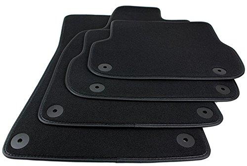 kfzpremiumteile24 Fußmatten / Velours Automatten Premium Qualität Stoffmatten 4-teilig schwarz Einfassung Lederrand
