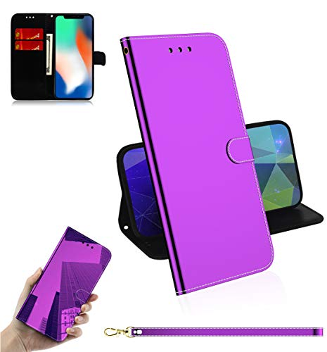 iPhone X/XS Reflektor-Schutzhülle, mit kratzfestem, halbdurchsichtigem Spiegel, Rückseite aus rutschfestem PU-Leder, kompatibel mit Apple iPhone XS, violett