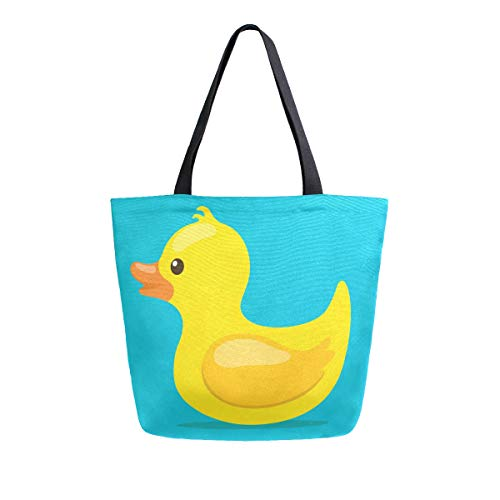 Cute Yellow Rubber Duck Canvas Tote Bag Large Shoulder Bag For Women And Girl Shopping Bags Reusable Canvas Handbags