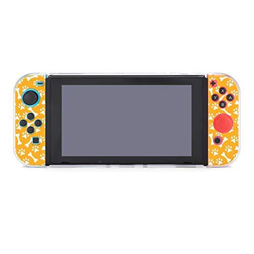 Funda protectora de PC antiarañazos para Nintendo Switch compatible con mandos Joy-Con Split 5 piezas Slim Game Console Case - Huella y Hueso
