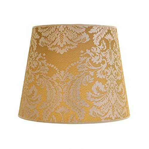 Pantalla para lámpara de pie E27 Willow de tela, color dorado, diámetro de 38 cm, diseño barroco
