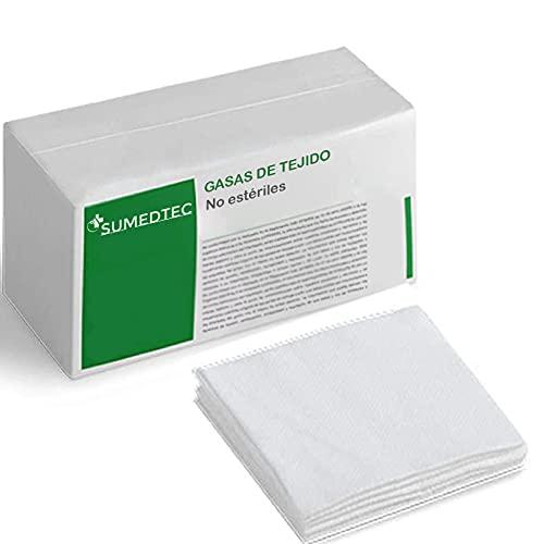 Sumedtec - 200 Gasas, no esteriles, de Tejido no Tejido 10 cm x 10 cm con 4 capas en caja con 200 unidades. Fabricado en la EU unidades CE