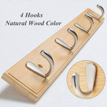 MASUNN metalen haken muur gemonteerd bamboe opknoping rack muur Hanger voor jas kleding handdoek, 1, 1