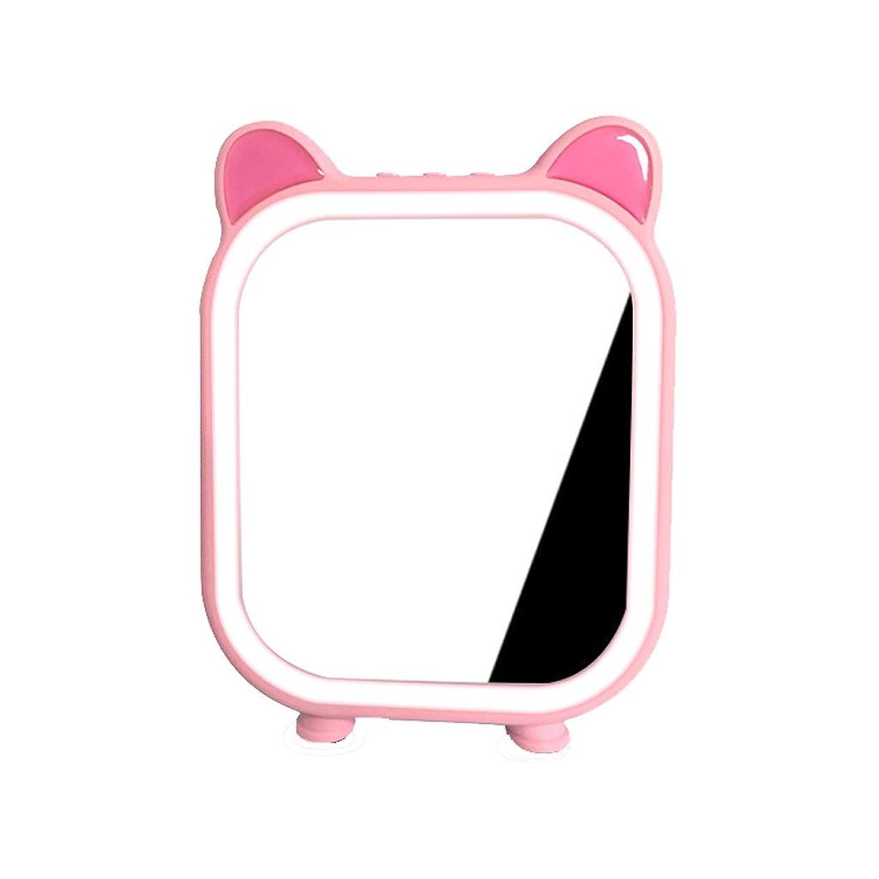 気晴らしペルードラマ高品質化粧鏡 ブルートゥースLED化粧鏡付きスピーカー美容化粧鏡ポータブルライトバスルームミラー ポータブル (Color : Pink, サイズ : 9*6 inches)