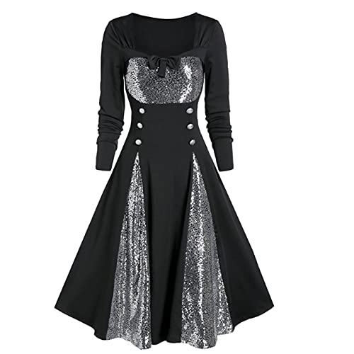 HIKO23 Plus Size Halloween Dress for Women Long Sleeve Button Down Color Block A-line Pleated Elegant Dresses Black