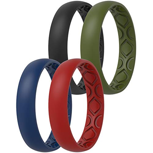 ThunderFit Women Breathable Air Grooves Silicone Wedding Ring Wedding Bands 4mm - 4 Rings (Black, Dark Red, Dark Blue, Olive, 8.5 - 9 (18.9mm))